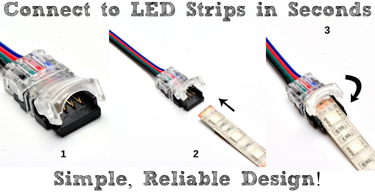 Led strip connectors alternative to soldering refresher on led strip lights and how to wire and power them take a look hereif not feel free to check out the connectors by clicking the image below aloadofball Image collections