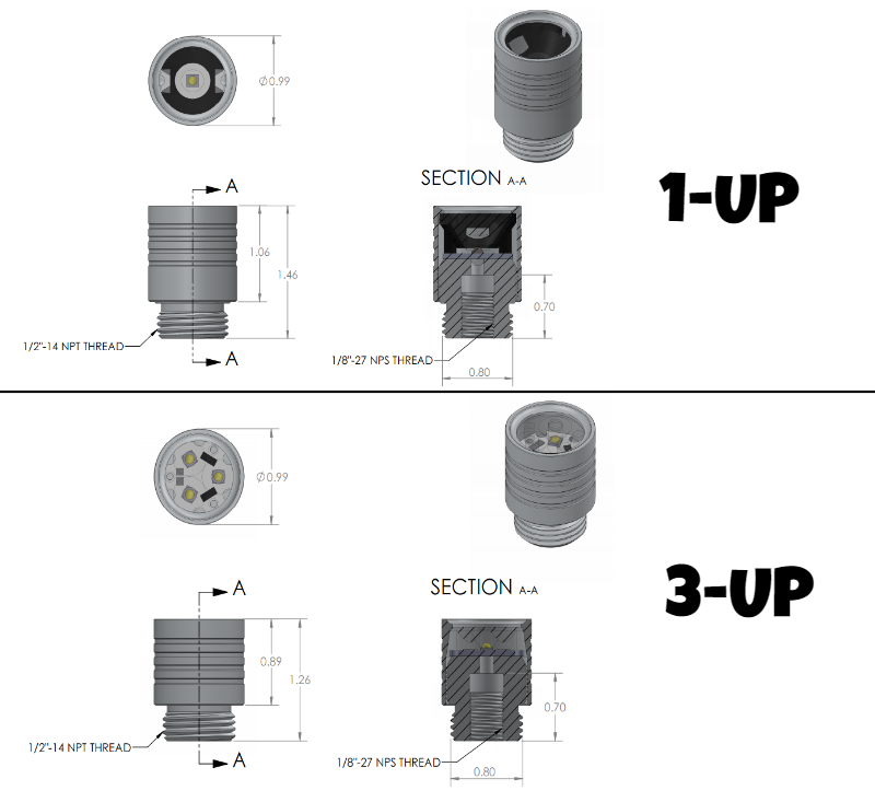 Dimensions for LED light housing