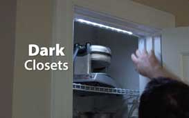 dark closet lit by battery operated flexible led light strip
