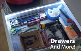 drawer lit with battery operated flexible led light strip