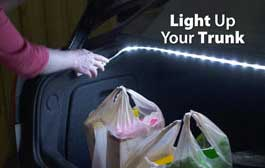 Car trunk lit with battery operated flexible led light strip