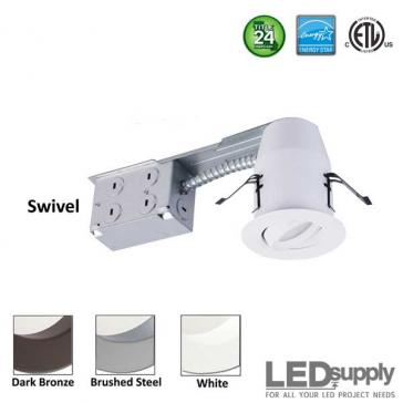 3-Inch LED Swivel Downlight Remodel Can & Trim