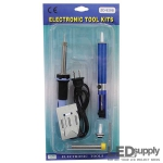 "<tr> <td bgcolor=""#CECECE"">110V</td> <td bgcolor=""#E8E8E8"">Soldering Iron w/ Outlet Plug</td> </tr>"