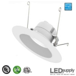 Interchangeable 5-Inch or 6-Inch IC/UL LED Downlight with White Trim