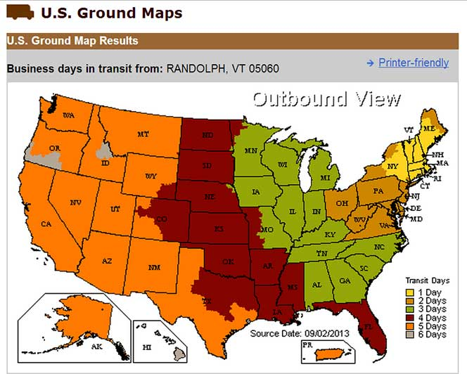 UPS Delivery Time Map