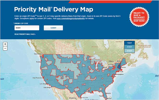 USPS Delivery Time Map
