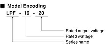 Mean Well LPF Model Number Encoding