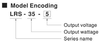 Mean Well LRS Model Number Encoding
